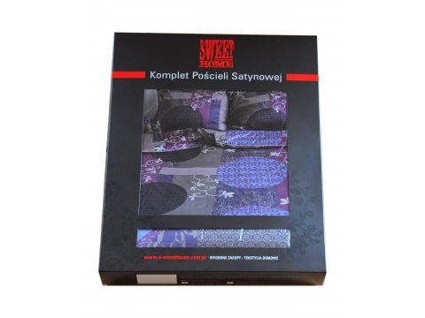 Komplet pościeli satynowej  - Royal Collection  - 160x200 - wrzosowo, popielate kwiaty -  Andropol  w pudełku