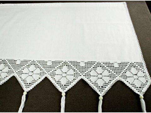 Zazdrostka - z koronką z frędzlami -  Village - Biały  -  70 x 150 - firana  243
