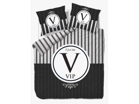 Pościel z bawełny - Vintage - Paski -biały, grafit, czarny - Vip - 220 x 200 -  wz. 61420/1