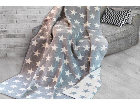 Koc Glamour -  Gwiazdy - biało- popielate -  Stars - 150 x 200 Greno -  Dwustronny   na prezent