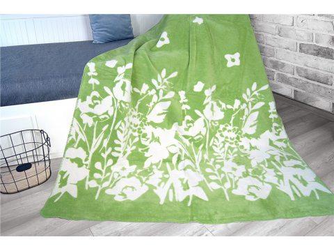 Koc Glamour -  Kwiatuszki - biało - zielone -  Flo zielony - 150 x 200 Greno