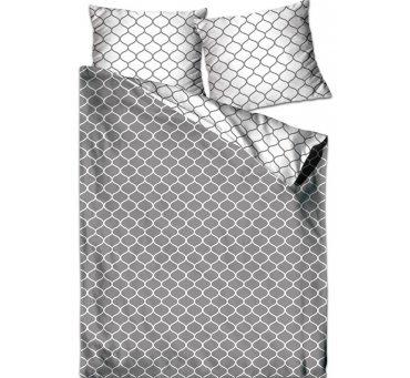 Pościel z satyny bawełnianej - biały - popielaty  - 140 x 200  - Decor -  Greno Gold Line   dwustronna