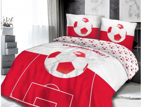 Bawełniana - Pościel - Piłkarska - dla - Kibica - biała, czerwona - Piłka Nożna - 160x200 - 61425/1 vintage