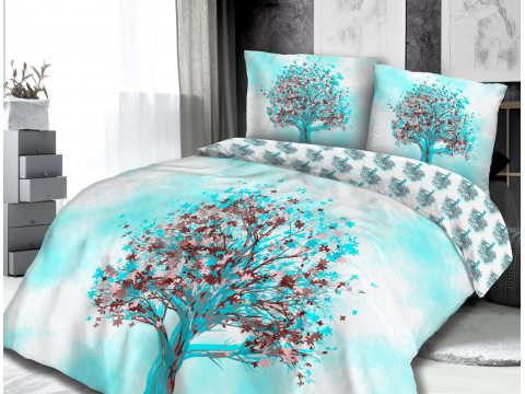 Pościel - Bawełniana - Drzewo - Dąb - biały, turkus, brąz - 160x200 - 61427/1 - vintage - na prezent