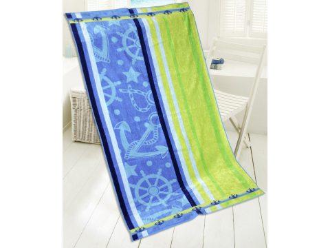 Ręcznik - plażowy - 85x170 cm - kąpielowy  - Blue - Lagune - niebieski, limonka - Greno