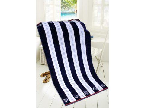 Ręcznik - plażowy - 85x170 cm - kąpielowy - Feel Free - Pasy - granatowo, białe - Greno