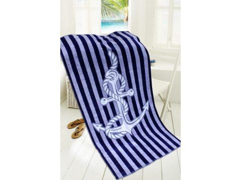 Ręcznik - plażowy - 85x170 cm - kąpielowy - Marine - Kotwica - granatowy, niebieski - Greno