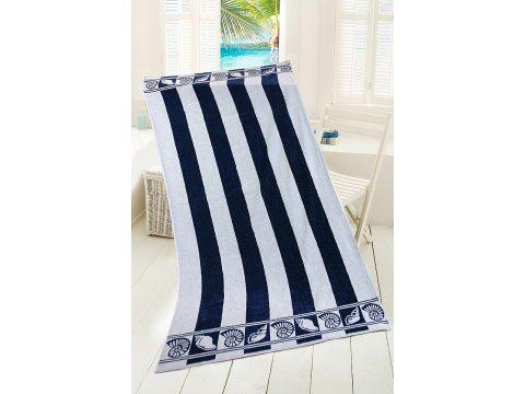 Ręcznik - plażowy - 90 x 170 cm - kąpielowy - Darłowo -  biało, granatowy -  Muszelki - Greno