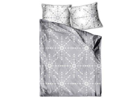 Pościel satynowa  Frotex - Aspen - Śnieżynka - szary - biały - 140 x 200 + 70x80   greno