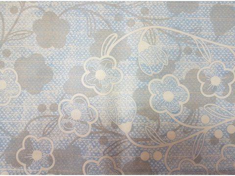Pościel z satyny bawełnianej  Frotex - Santorini - Kwiatuszki - białe - niebieskie - 220 x 200   greno