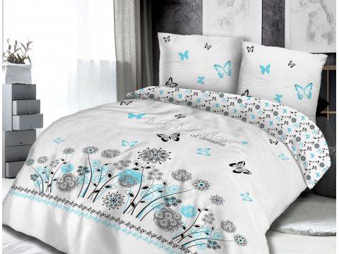 Pościel - z Bawełny - Motylki - Kwiatki - biały, turkus, szary - 220x200 - 61426/1 - vintage - na prezent
