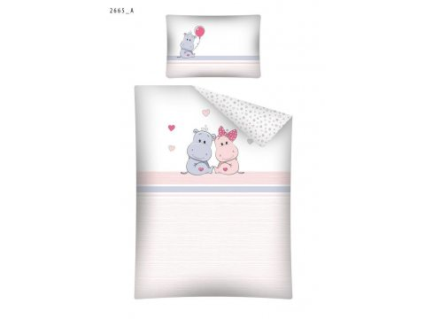 Pościel dla dzieci z bawełny do łóżeczka - Hipcio - 100x135 +40x60 - 2665 A