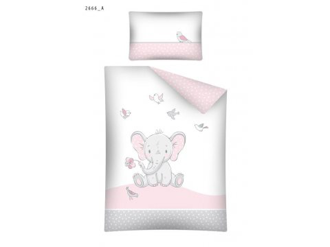 Pościel dla dzieci z bawełny do łóżeczka - Słonik - 100x135 +40x60 - 2666 A