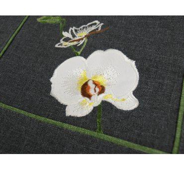 Haftowana serwetka - Orchidea - grafit - 30 x 30 cm - 9419