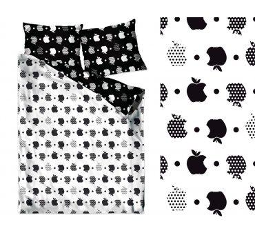 Pościel bawełniana - 160x200 - Apple - biały, czarny - Milo - Jabłka Bielbaw na prezent