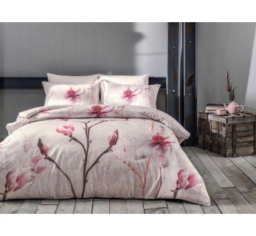 Pościel satynowa ekskluzywna - Orchidea Beige - 200x220 -  Satin Delux  Tivolyo Home