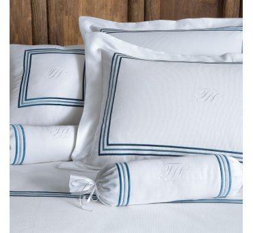 Ekskluzywna pościel satynowa - Line Blue - 200x220 - Tivolyo  Embroidery Satin