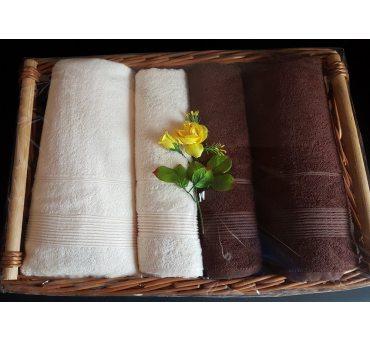 Kpl. Ręczników Bambusowych na prezent - Moreno I - Kosz - krem, brąz