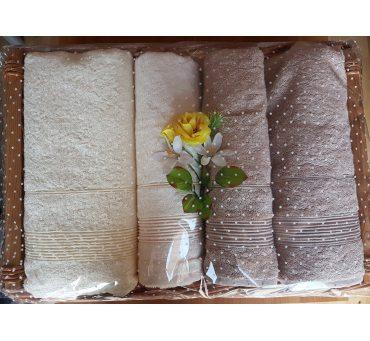 Kpl. Ręczników Bambusowych na prezent - Moreno II - Kosz - Krem, Beż