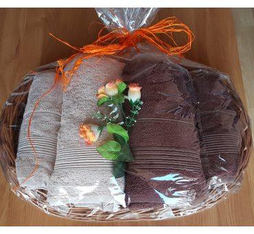 Kpl. Ręczników Bambusowych na prezent - Moreno - Tacka Duża - Brąz, Beż