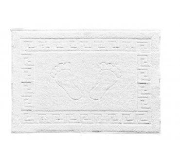 Dywanik łazienkowy - Stopki - Klucz grecki - 50x70 cm  Biały