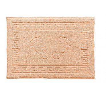 Dywanik łazienkowy - Stopki - Klucz grecki - 50x70 cm  Łosoś
