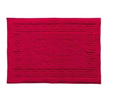 Dywanik łazienkowy - Stopki - Klucz grecki - 50x70 cm  Czerwony