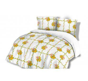 Pościel Flanelowa - 160x200 - Różowo Żółte Różyczki -  wz. 31450/2