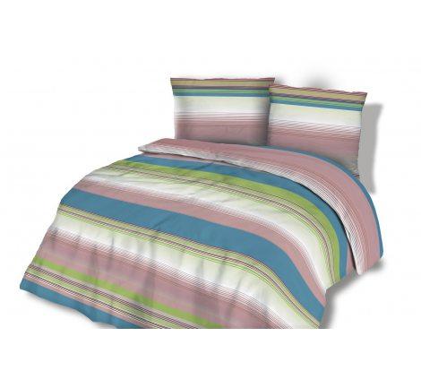 Pościel flanelowa - 220x200 - Pasy - zielone, niebieskie, fioletowe  wz. 31454/2