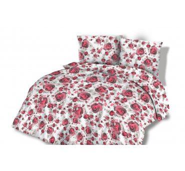 Pościel  z Flaneli - 140x200 +70x80  - Różowe  Różyczki - wz. 31451/2