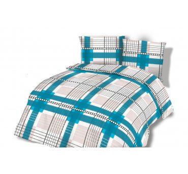 Pościel Flanelowa - 180x200 - Niebieskie  Kwadraciki -  wz. 31446/1