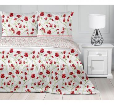Pościel z satyny bawełnianej - 160 x 200  - Poppy -  Greno Gold Line  -  Czerwone Maki