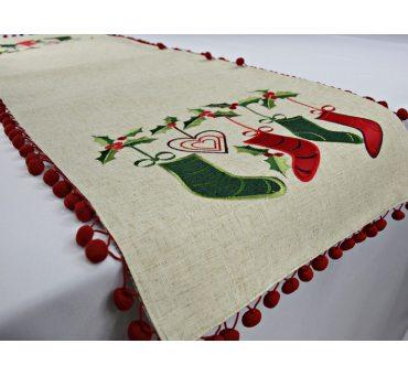 Bieżnik świąteczny  z czerwonymi popmponikami - 35x140  int  42489