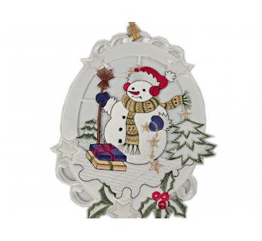 Zawieszka świąteczna Bałwanek z prezentami Boże Narodzenie na okno