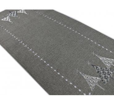 Bieżnik świateczny - Popielato Srebrna Choinka -  40x 85 cm int 17950