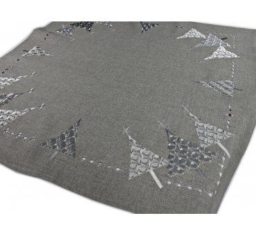 Bieżnik świateczny - Popielato Srebrna Choinka -  85x85 cm int 17950