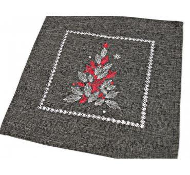 Serwetka świąteczna - Czerwono srebrna choinka - 25 x 25 cm int 17762