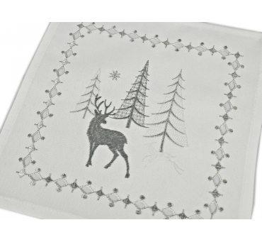 Serwetka świąteczna - Biało srebrna -  renifery, choinka -  25 x 25 cm int 17436 b