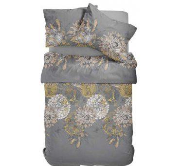 Pościel satynowa -  Fashion Satin - Popielato, Beżowo Złote Kwiaty -  160 x 200  wz. 2517  B  w pudełku