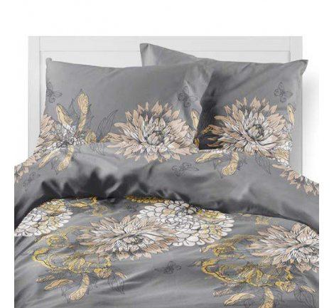 Pościel satynowa -  Fashion Satin - Popielato, Beżowo Złote Kwiaty -  220 x 200  wz. 2517  B  w pudełku