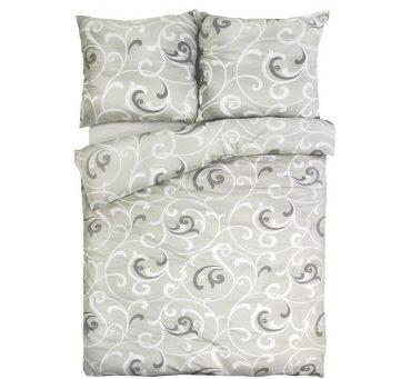 Pościel z bawełny - biało -  szare - esy floresy  - 160x200 cm - Vitali 38 - wz. 17758/11 - Andropol