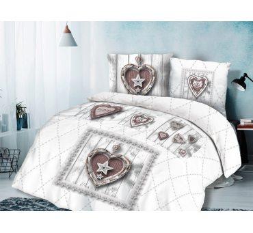 Pościel bawełniana - Vintage - szaro brązowa - Serce - 160x200 -  wz. 61432/1  dla zakochanych