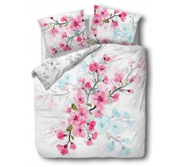 Pościel z Bawełny - Kwiat Wiśni - biały, różowy - 160x200 - 61434/1 - vintage na prezent