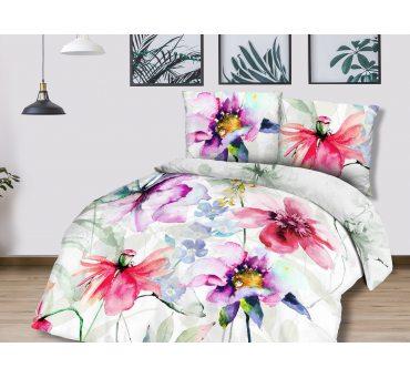 Pościel z Bawełny - Kwiaty - biały, różowy - 160x200 - 61435/1 - vintage na prezent