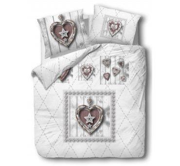 Pościel bawełniana - Vintage - szaro brązowa - Serce - 220x200 -  wz. 61432/1  dla zakochanych