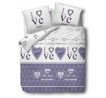 Pościel bawełniana - Miłość  - biały, fiolet - 220x200 - 61433/1 - vintage na walentynki