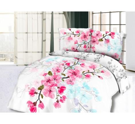 Pościel z Bawełny - Kwiat Wiśni - biały, różowy - 220x200 - 61434/1 - vintage na prezent