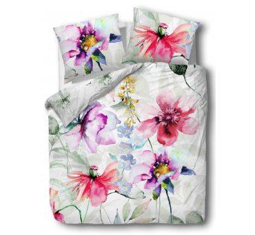 Pościel z Bawełny - Kwiaty - biały, różowy - 220x200 - 61435/1 - vintage na prezent