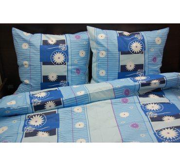 Pościel bawełniana - 160x200 - Niebieskie Kwiatki - na prezent