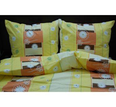 Pościel bawełniana - 160x200 - Żółte Kwiatki - na prezent